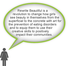 Rewrite Beautiful is a revolution to change how girls see beauty in themselves from the superficial to the concrete with art for the prevention of eating disorders and to equip them to use their creative skills to positively impact their communities.